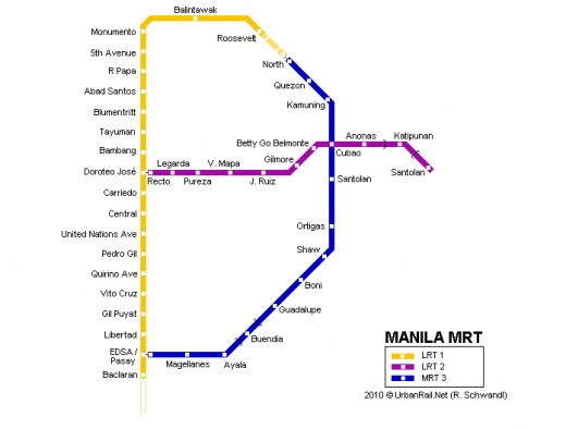 Map of Manila through LRT and MRT stations (shared by Travel Man)