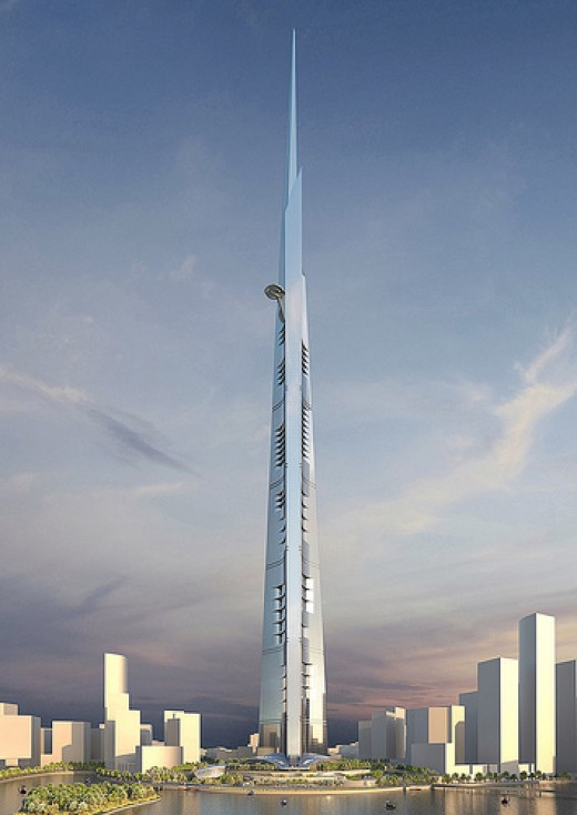 Kingdom Tower, Jeddah, Saudi Arabia - 6,561.68 ft (including spire height), 200 Floors