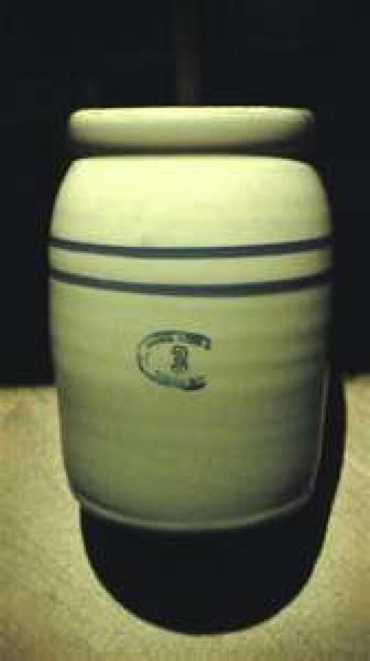 A stoneware churn similar to my Grandmother's churn.