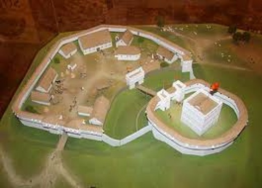 Model of Shrewsbury Castle as it was re-built in stone - the old timber castles built after the Conquest were prone to rot and/or burning
