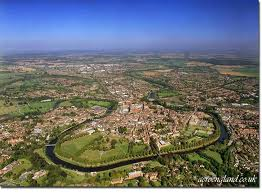 Shrewsbury from the air, showing the position of the castle and environs on its peninsular site (very similar to Durham)