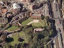 Shrewsbury Castle from the air shows a triangular ground plan around where the keep would have been