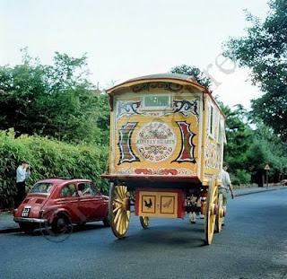 The psychedelic caravan with the Sergeant Pepper logo