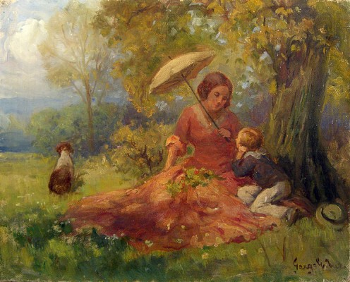 I love this piece of art.  I think it is just lovely, the mother with her son having a picnic under the tree.  The dog is so sweet too.