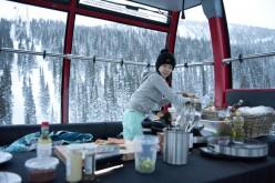 Bev in her gondola kitchen