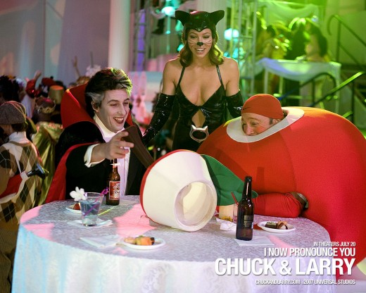Chuck and Larry enjoy a costume event.