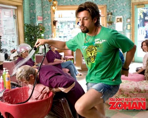 Zohan dances while washing hair.