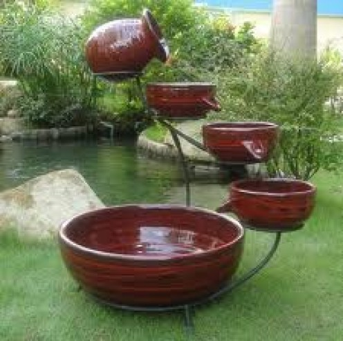 Red Lava Cascading Solar Fountain