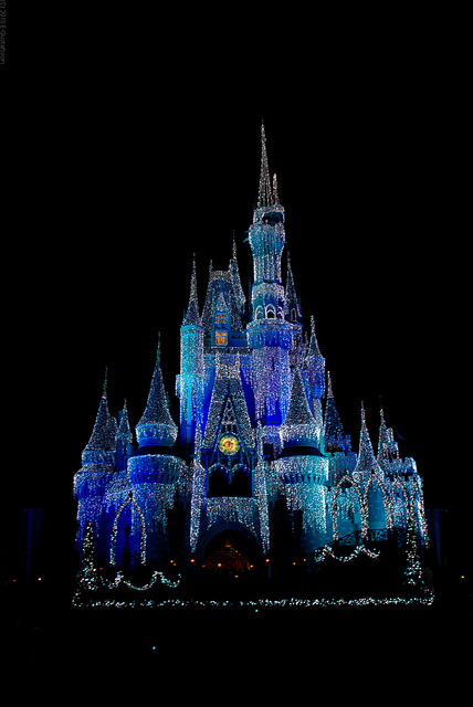 This is Cinderella's Castle sprinkled with diamonds. The lights are still up on New Year's Eve and when paired with the amazing fireworks show, create a dazzling spectacle that should be named the eighth wonder of the world!
