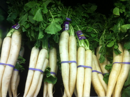 Fresh daikon in the produce section