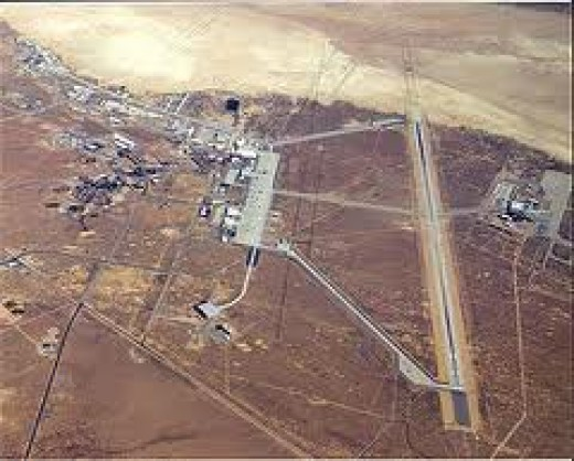 "Edwards Air Force base, California, where the ""Alien meeting"" was said to have taken place"