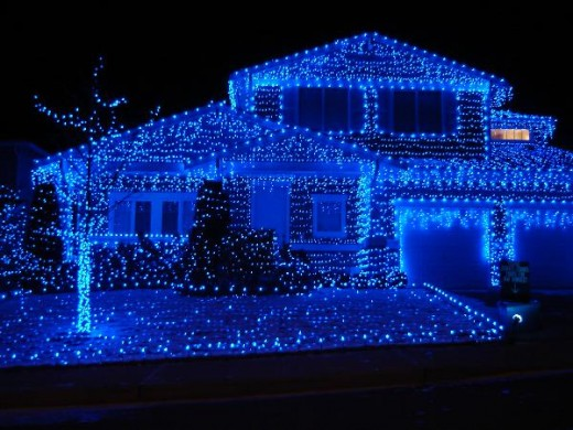 house with blue christmas lights