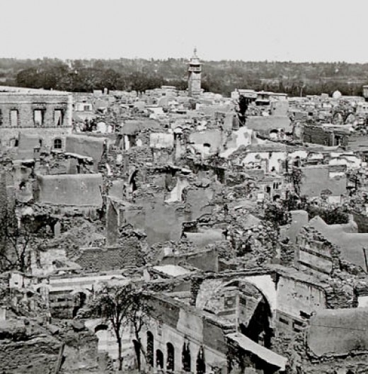 Glass-photo, ca 1860, of the destruction of the Christian Quarter in Damascus in 1860. Abd el-Kader,  along with his 1000 volunteers protected most of the Diplomats, and thousands of Christians in his houses.