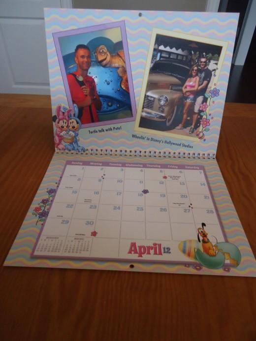 The inside of the calendar