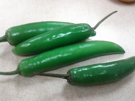 Green chillies for cooking currries and daal