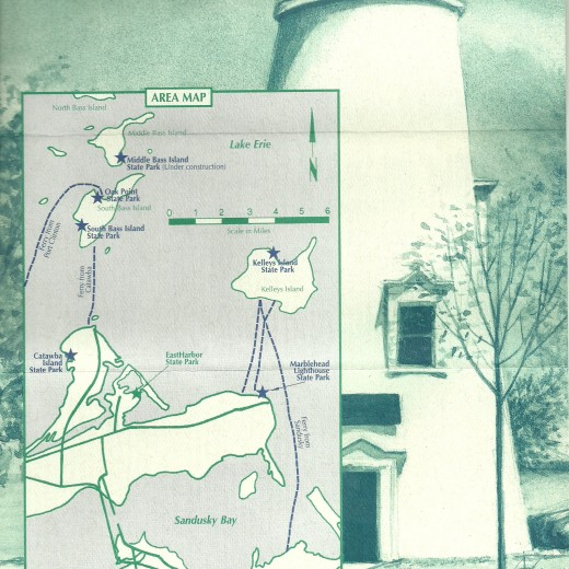 A map of the Sandusky Bay and Marblehead, Ohio, region locates the Marblehead Lighthouse State Park.