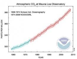 Atmospheric CO2 Measured at Mauna Loa Hawaii