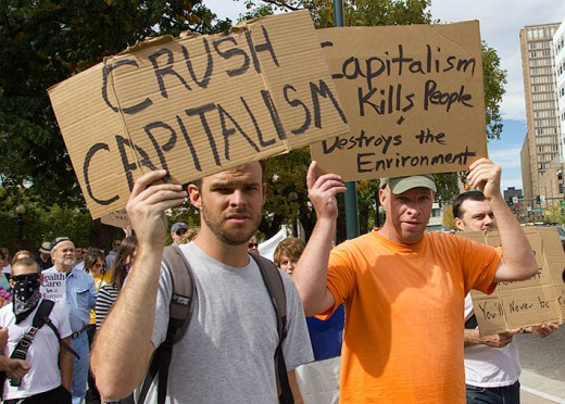 The hard left's thinly veiled contempt for the free market, on displayed at Occupy Wall Street