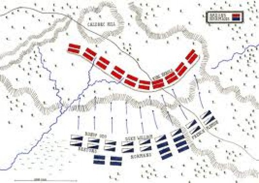 Plan of the battle near Hastings, starting point at 'Terce', nine in the morning on Saturday, 14th October, 1066. The wavy red line is Harold's shield-wall on Caldbec Hill. Opposite, at the base of Telham Hill are William and his allies