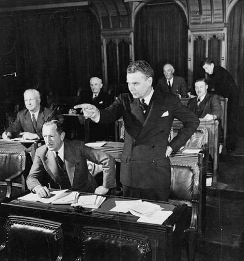 John G. Diefenbaker, M.P., speaking in the House of Commons, Ottawa, Canada