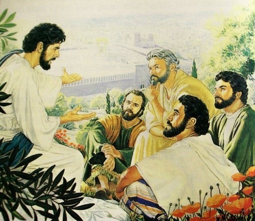 Jesus teaches his Apostles on the Mount of Olives