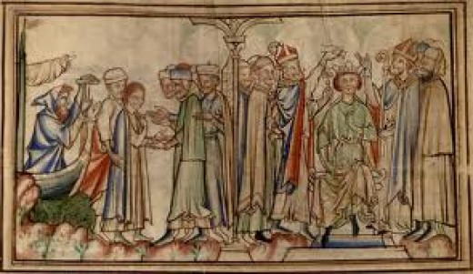 Thirteenth Century image of Eadward's arrival back in England in 1041 - half-brother Harthaknut offered a share in the kingship. When he died of asphyxiation Eadward had the throne for himself in 1042. Trouble brewed for Godwin unless he acted fast