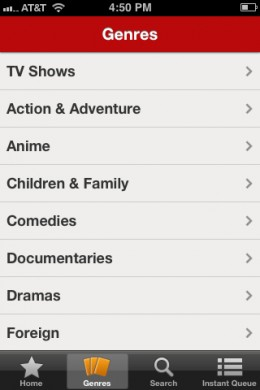 You can sort the Watch Instantly content by genre.