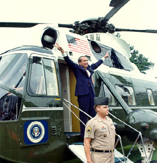 Nixon departing from the White House after his resignation.