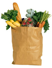 A bagful of organic groceries.