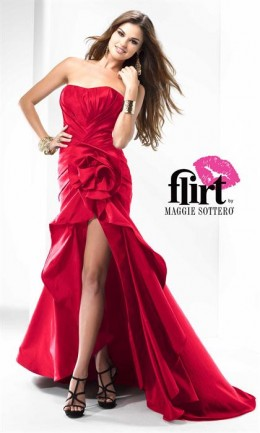 Red is hot this year, and this strapless is perfect to hide a big tummy and show off your sexy calves. Available up to size 28. Moderately priced at $278.00.