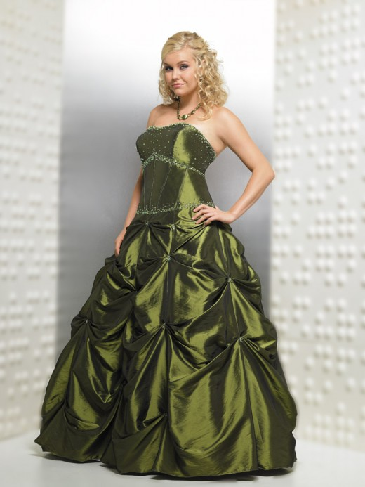 This gorgeous green dress with a corset top, (perfect for large breasted women) and A-line skirt is very figure friendly. And, at under $200, friendly on your pocketbook, too.