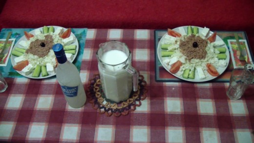 Complete greek salads with Mastika and Ayran