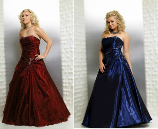 Jewel tones are hot this season! This blue dress is $180, and the deep red is $205.00