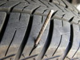 This tire is an example of a puncture too close to the sidewall for repair in most shops.