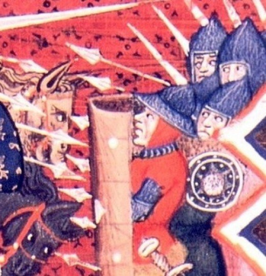 A Medieval depiction of the Flemish shield wall
