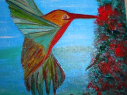 Painted Hummingbird and flowers collaged onto painted canvas.  Lizam1 2010