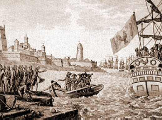 The French invading the relatively undefended island of Malta