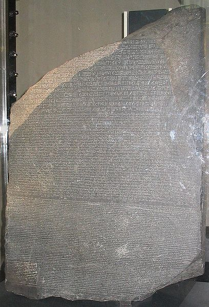 The Rosetta Stone discovered by French academics which unlocked the secrets of the Ancient Egyptian language and revived interest in the subject.