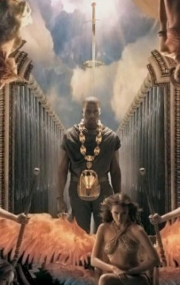 Horus pendant with a sword above Kanye's head.