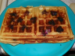 While the waffles are hot the blueberries make them a little fragile so take care working them out of the waffle iron.