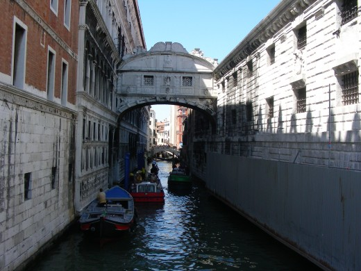 The waterways line Venice and are used as transportation via a Gondola.