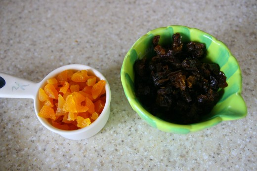 1/2 cup of dried apricots and 1/2 cup of dried prunes.