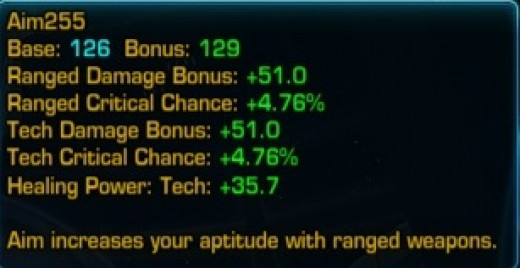 The Aim stat breakdown for a Trooper/Bounty Hunter