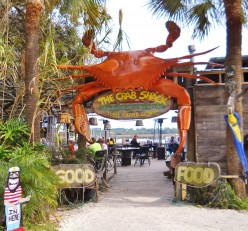 Entrance to Crab Shack Restaurant on Tybee Island, Georgia. The seafood is delicious, the décor casual and fun.
