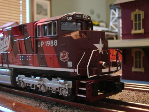 "This Union Pacific ""Katy"" locomotive from MTH's RailKing line is decorated like the prototype but is not-to-scale."