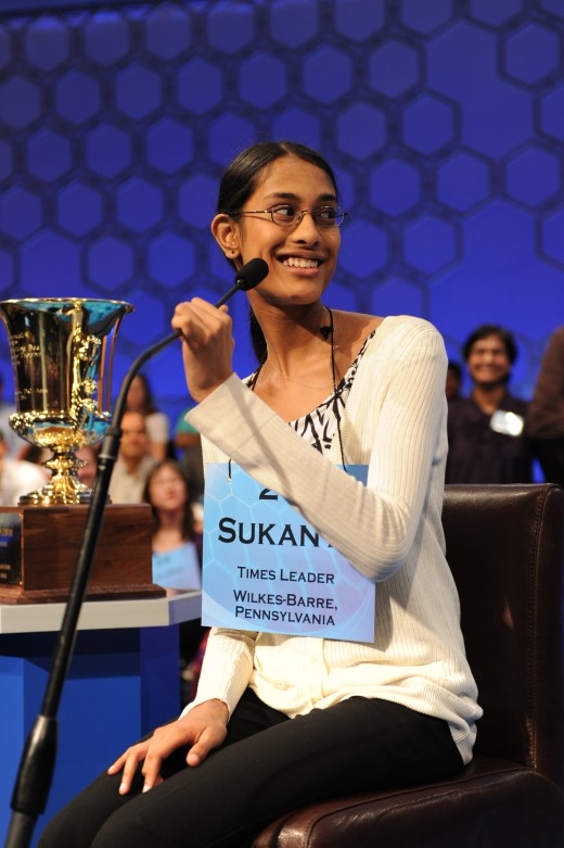 Sukanya Roy, 2011 National Champion, on the word cymotrichous.  Would I have spelled that right?  Maybe.  Maybe not.
