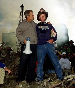George Bush and fireman.