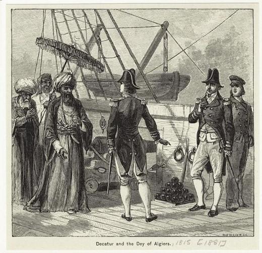 Decatur's fleet convinces the Dey of Algiers that peace is in his best interest