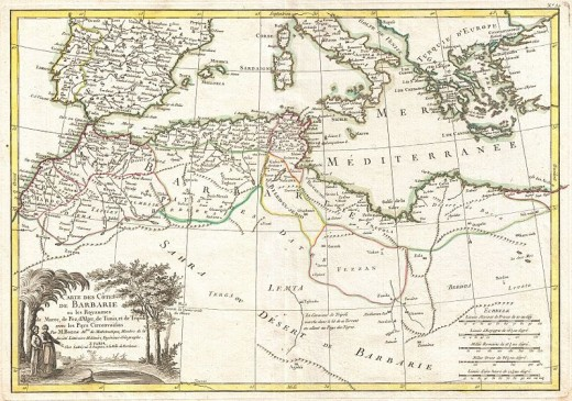 A beautiful example of Rigobert Bonne's decorative map of the Maghreb or Barbary Coast. Covers northwestern Africa and the western Mediterranean 1771
