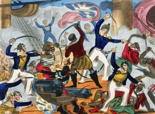 British Sailors boarding an Algerian Pirate ship